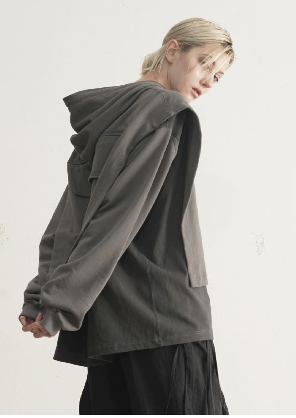 AW21 Dirty Dyed Two Piece Look - Cloak Style Stitching Sweater