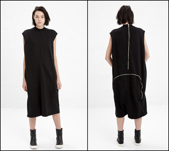 Black Cotton Jersey Zip Detail at Lower Back Bodybag Jumpsuit