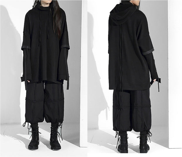 Winter Cyber Japanese Gothic Steampunk Men's Loose Fake Two Pieces Oversize Sweater Pocket Hooded Sweater Coat Tide