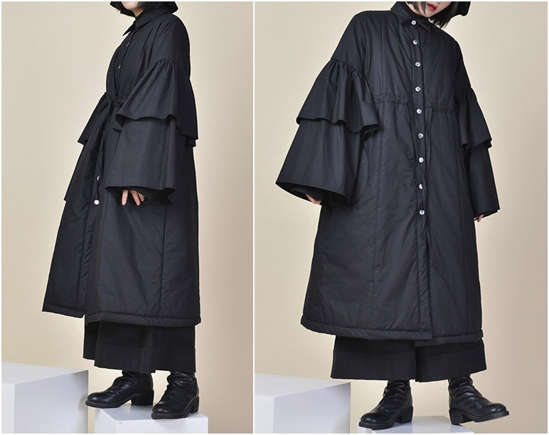 Winter Loose Asymmetric Cut Long Padded Flared Sleeve Kimono Jacket / Japanese