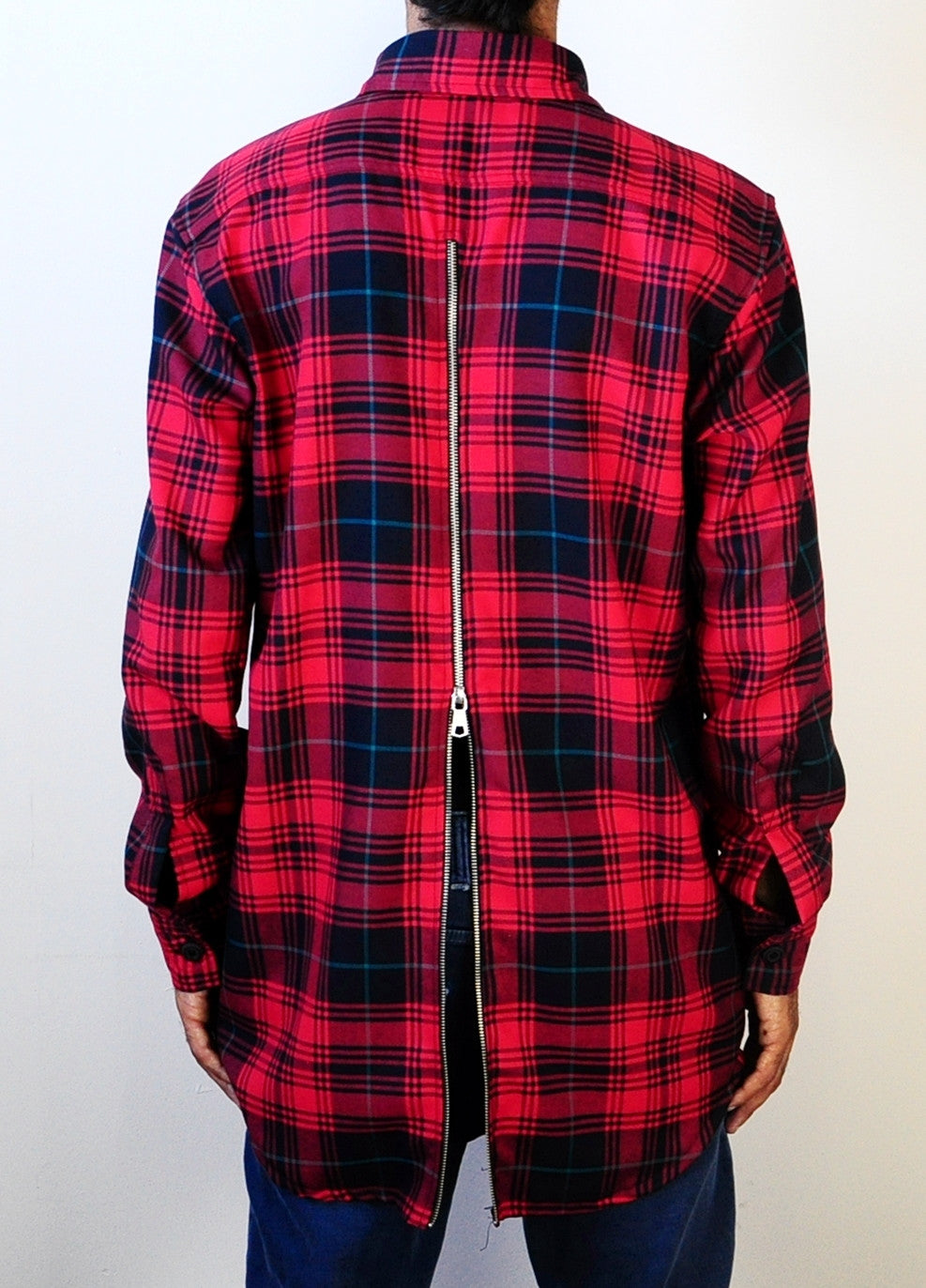 Rear Back-YKK Zip Slim Fit Long Sleeve Flannel Plaid Check Shirt Button Front Shirt - Red//Blue-