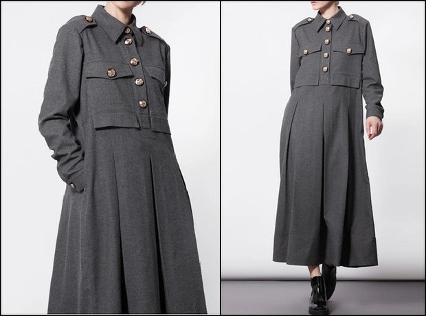 Woolblend Front Button Closure Dress Overlong Floor Long Military Kaftan