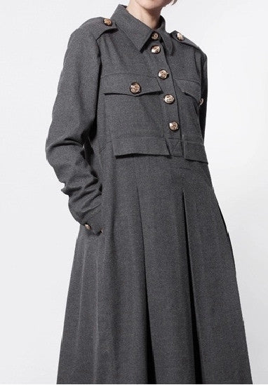 Woolblend Front Button Closure Overlong Floor Long Military Style dress