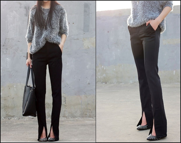 Women's Crepe Trouser Slim Fit Front Ankle Slit // slim waist pencil pants trousers small straight split