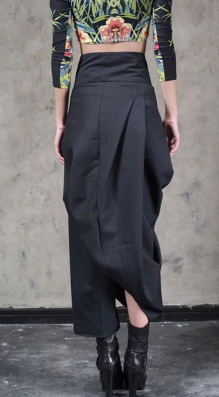 Original Design High Waist Wide Leg Culottes Big Crotch Harem Pants // Cotton Asymmetrical Slacks Trouser