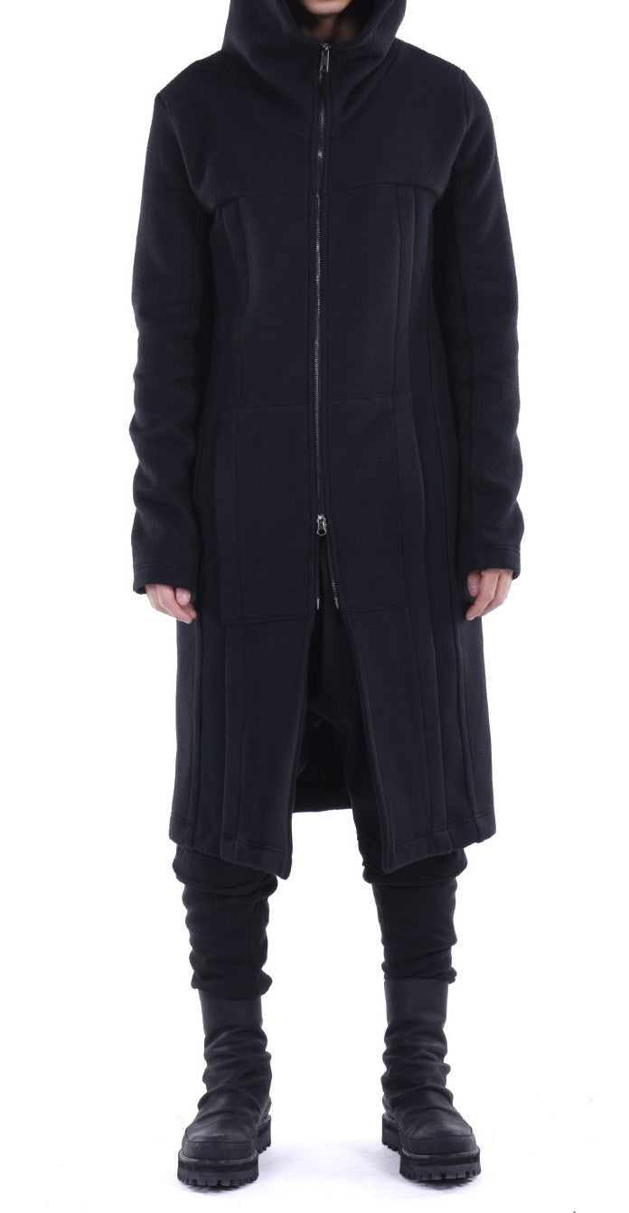 Dark Black Relaxed-fit Oversized Overlong Hooded Zip Up Sweatshirt