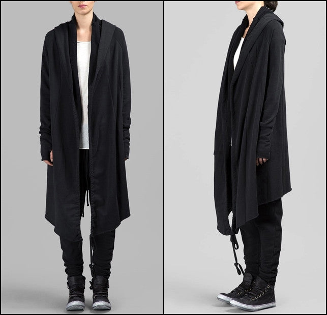Asymmetric Long Cut GLOVES SLEEVES Long Cardigan Shawl Collar Sweatshirt Hoodie