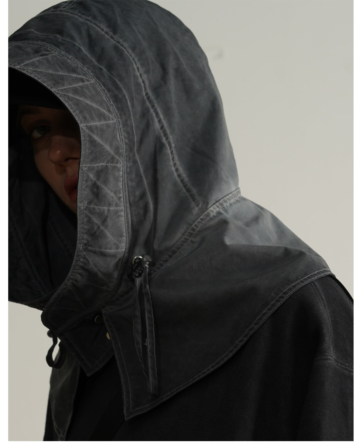 AW21 Dirty Dyed Stitching Three-dimensional Pocket Split Hooded Sweater Hoodie