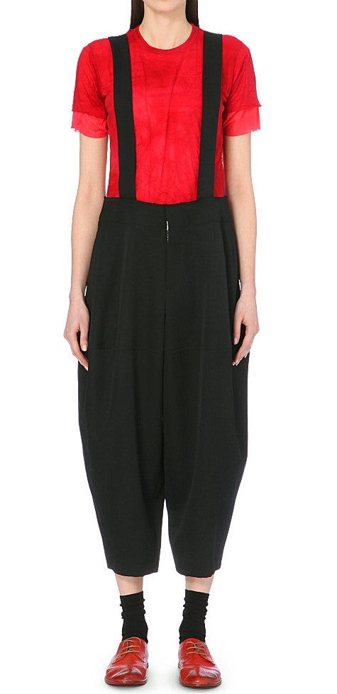 Wide Leg Suspender Trousers // Strap Detail Gabardine Braced Trousers Jumpsuit