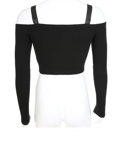 Vogue Off Shoulder Long Sleeve Crop Top T Shirt For Women Sexy Korean Style Strap Buckle Decoration