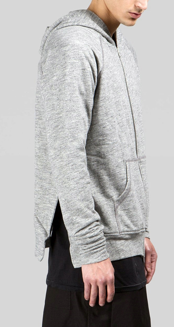 Men's Long Slim Extended Slevees Side Slits Pockets  - Side Splits // Zip Closure Hoodie