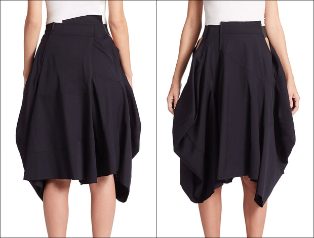 Loose Fitting Black Asymmetrical Hybrid Shorts Skirt // Draped Skirt