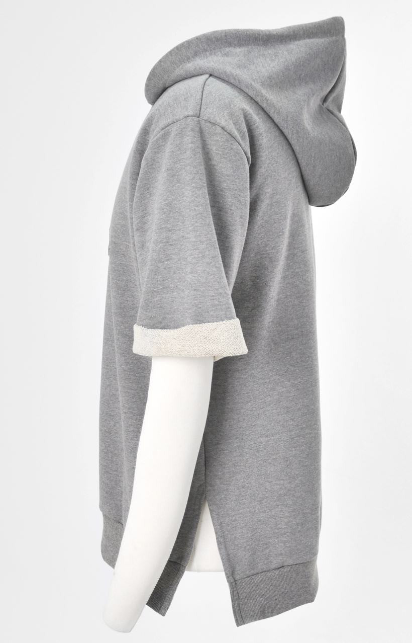 KW Side Slit Short Sleeve Essential Hooded Sweatshirt / Unsewn Cuffs
