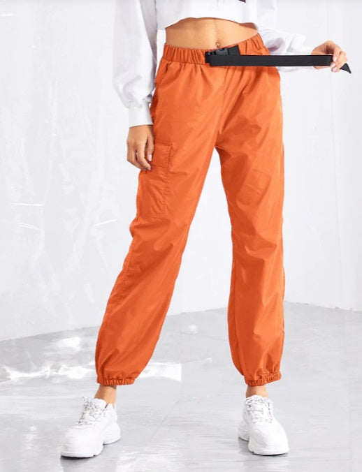 Women Push Buckle Front Pocket Side Tapered Carrot Pants Hiphop Streetwear Neon Jogger