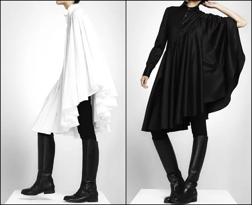 Bat Sleeve Loose Fit Cape-Style Blouse Shirt Asymmetrical pleated Skirt Dress Tunic