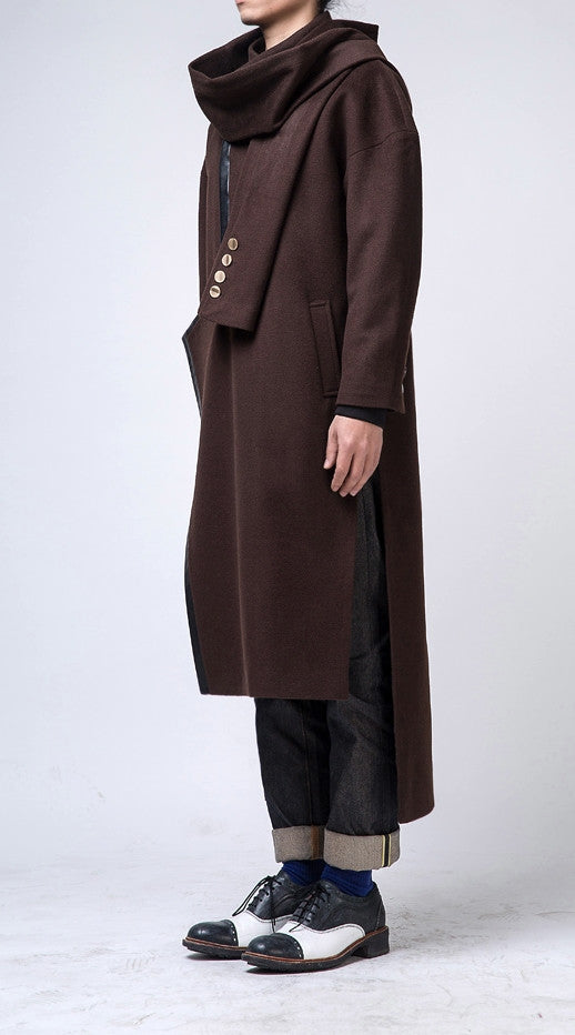 Oversized Wool Side Slit Cross Front Long Jacket // Asymmetrical Cut Leather Trimed Extravagant Coat