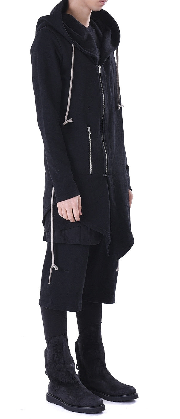 Big Hood Dark Overlong Extended Essentials Asymmetric Zipped Fishtail Hoodie