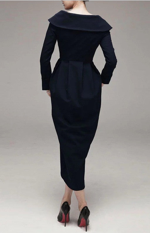 Dark Black Longsleeved Draped Pleating Down the front and an Asymmetric Hem Autumn Todd Woolen Dress Jacket Slim collar  -