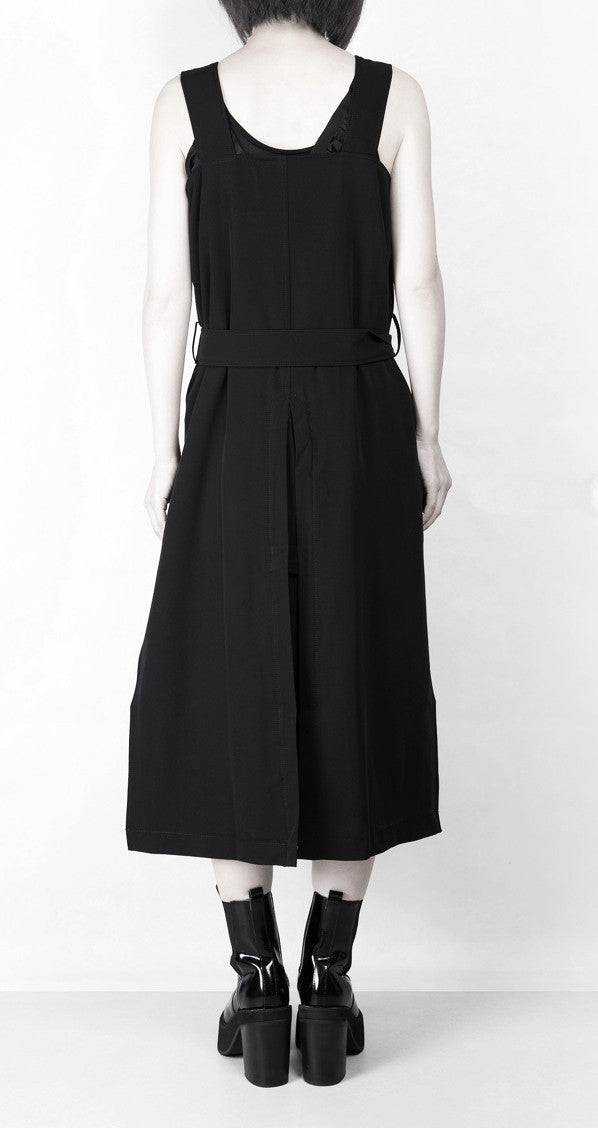 Relaxed-fit Stretcy Cotton Dark Black Contour of the Top Long Strap Dress Tunic