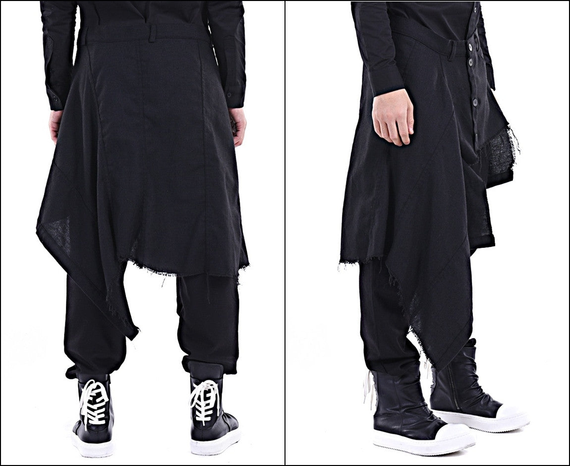 Harem Casual Jersey Pants with Wrap Skirt Panelled Flare Wrap Skirt Kilt