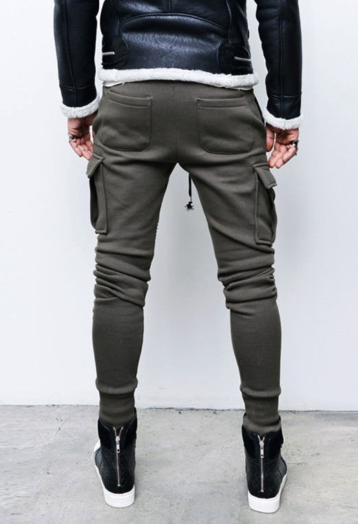 Pintuck Knee Seaming Cargo Mens Slim Cuffed Biker Jogger Combed Cotton Sweatpants