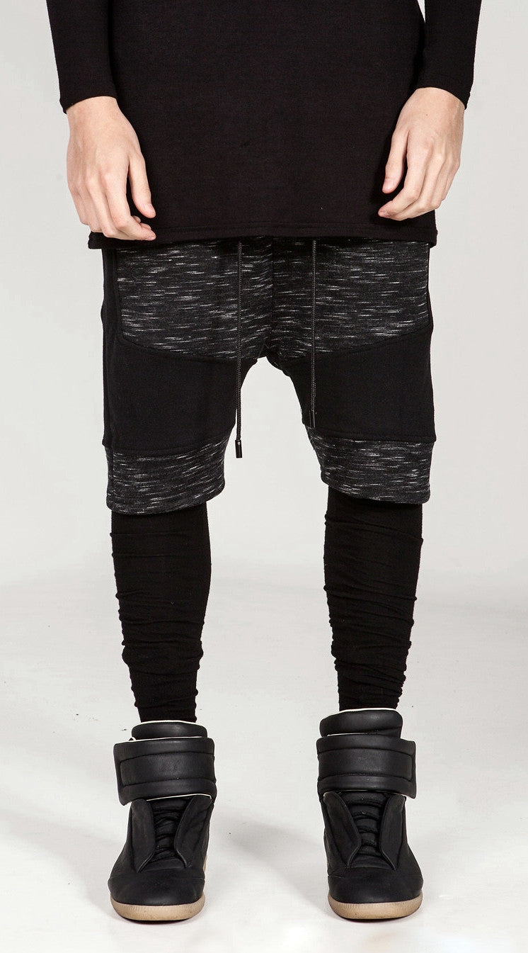 Dark Biker Black Panelling Shadow Shorts with a Drop Crotch and Tapered Leg