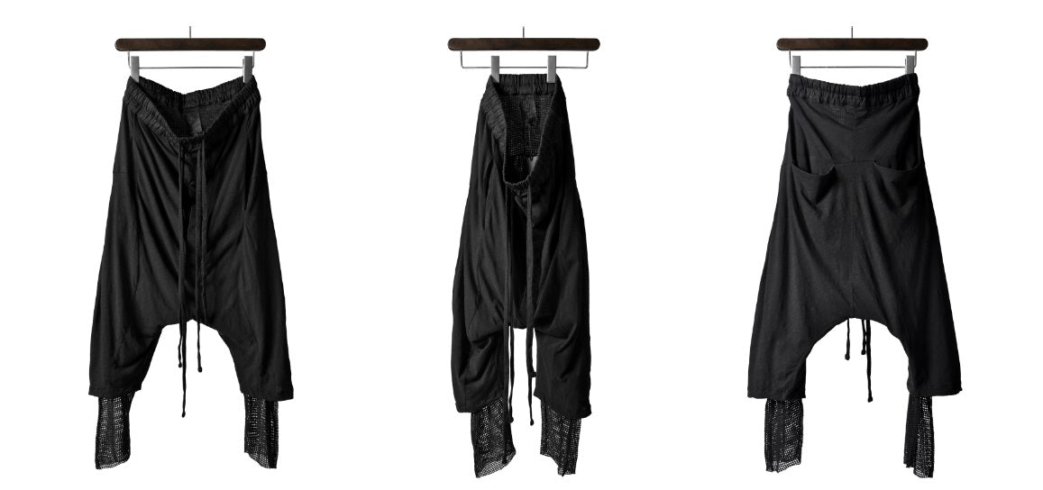 LOW CROTCH TROUSERS JERSEY LAYERED MESH