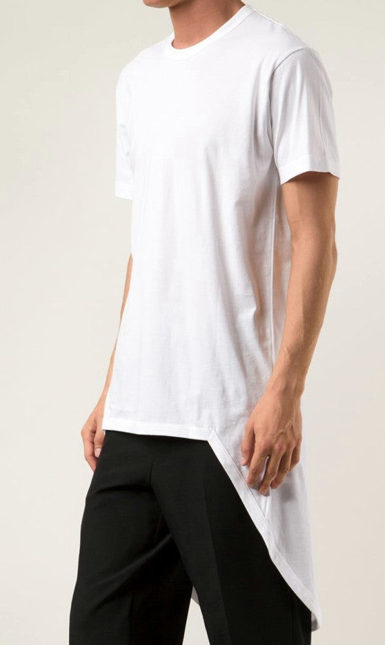 Short Sleeve Viscose Cotton Back Extended tee Feauturing a Round Neck and Long Tuxede Tail Tshirt
