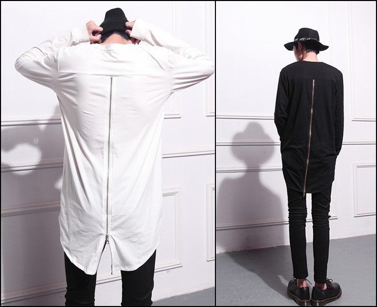 Mens Lengthen Extended Back Full Zipper Design Long Sleeve Tops Tee