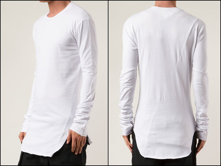 Long Sleeve Elongated Torso Central Back Seam Scooped Hem Overlong Tee