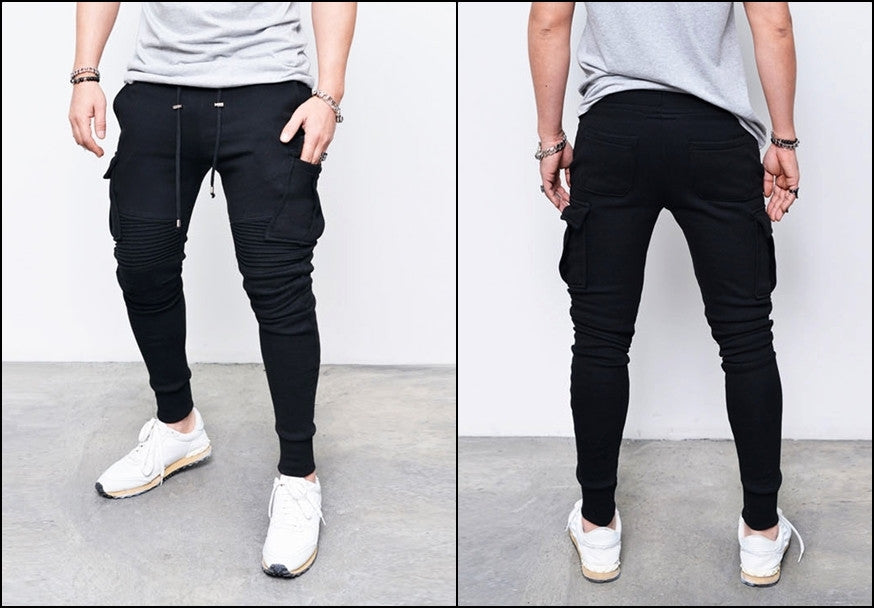 Cargo Mens Slim Cuffed Biker Jogger Terry Cotton Sweatpants