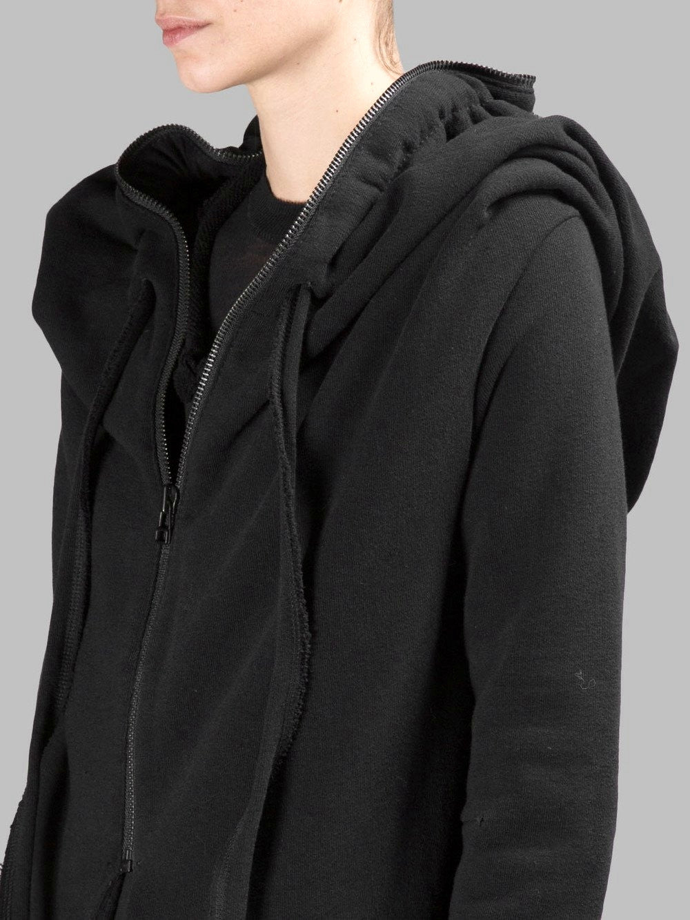 Women Asymmetric Raw Cut Seam Detail Sweaters Hoodie Zipped Side Pockets