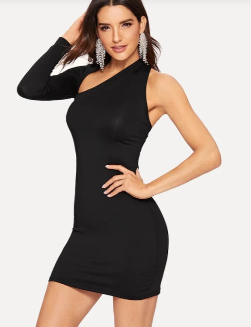 Women Sexy Backless One Sleeve Dress / Bodycon Asymmetric Neck
