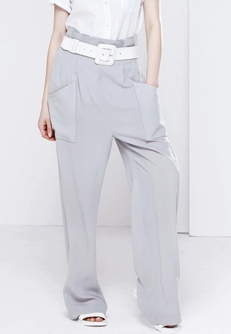 Loose Straight Minimalist Pant// Perspective Pleated Wide Leg Pants // Loose Casual Pant