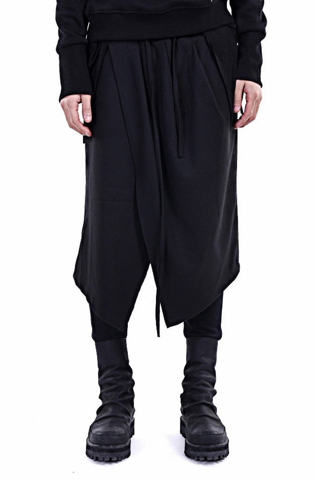 Black Skirt Layer Lounge Pants Side and Back Pocket Jogger Harem
