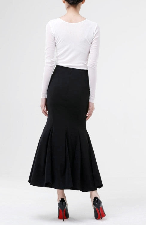 Women Woolen Fishtail Skirt Japanese Elegant Fashion Maxi Long Skirt