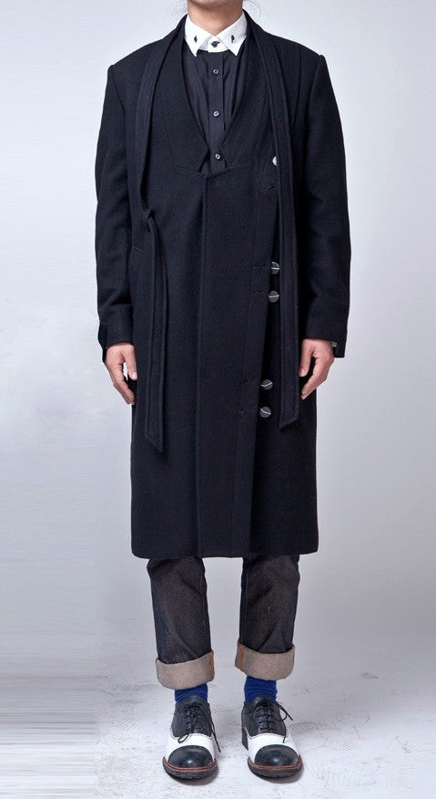 Oversized Wool Asymmetryc Cut Side Slit Cross Front Long Jacket //  Extravagant Coat