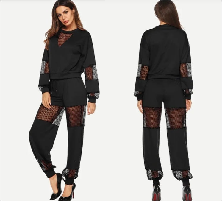 Women Black Sexy Contrast Fishnet Top With Pants /Set 2pcs Plus Size XXXL