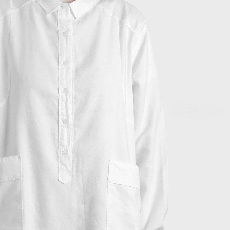 Essential Loose Long Shirt / Women White Tunic Long Top  Shirt JUNJ Irregular Shape Long Sleeve Assimetric Hem Cut- JYYDesign