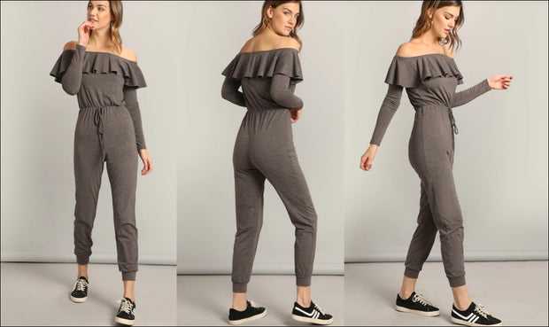 Women Waist Knot Sexy Ruffle Bardot Jumpsuit / Off the Shoulder Yogawear
