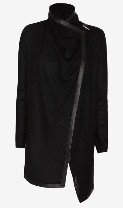 Women's Black Leather Trim Viscose Cotton Shawl Collar Long Sleeve Cardigan Jacket