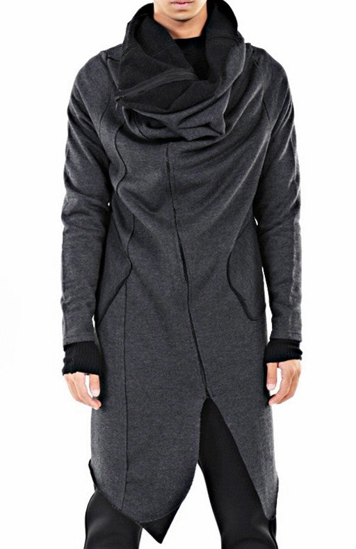 Drape Front Long Zip Up Jersey mix Pocket Dark Hooded Cape Sweatshirt