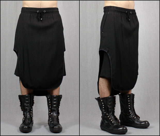 Black Cotton Jersey Short Pants with leather trimmed sides  // Handmade--