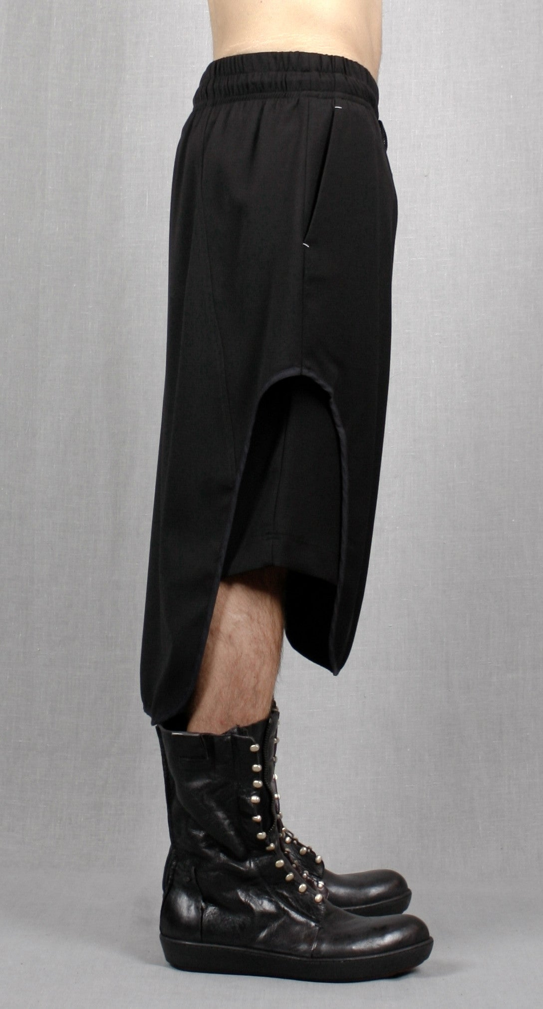 Black Cotton Jersey Short Pants with Leather Trimmed Sides