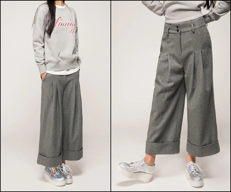 Women's Wide Leg Pants Wool Culottes Winter Warm Casual Trouser Low Crotch