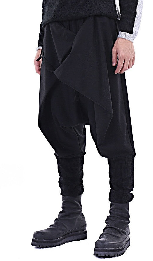 Men Casual Drop Crotch Wrap Harem Ninja Pants // Wrap Skirt Layered Joggers