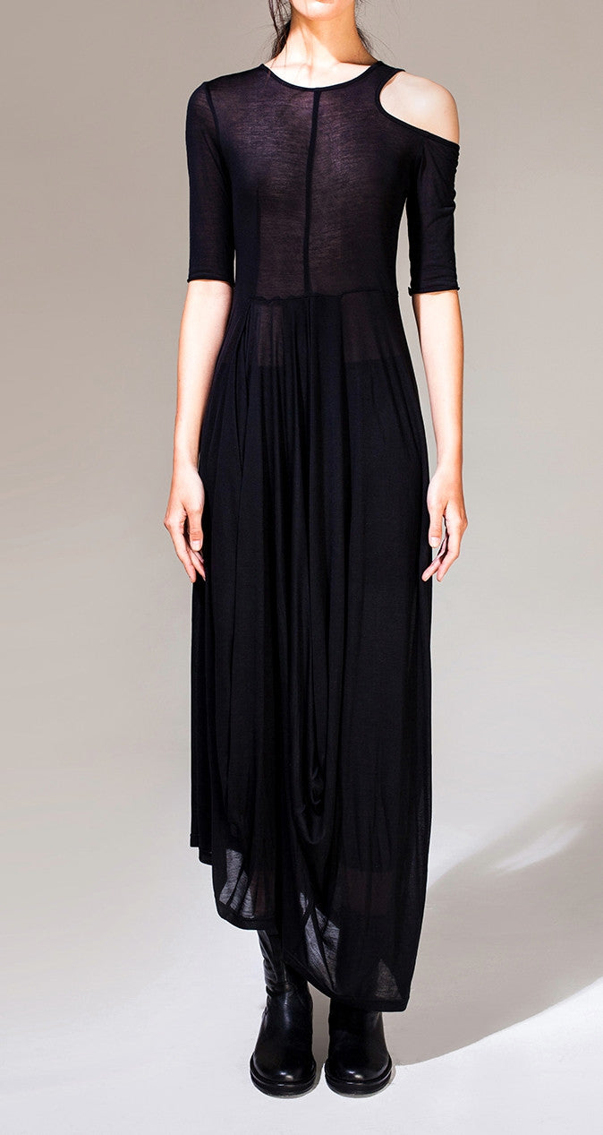 Open Shoulder Black Pleats Oversized Draped Skirt Short-Sleeved Maxi Dress Viscose Cotton//