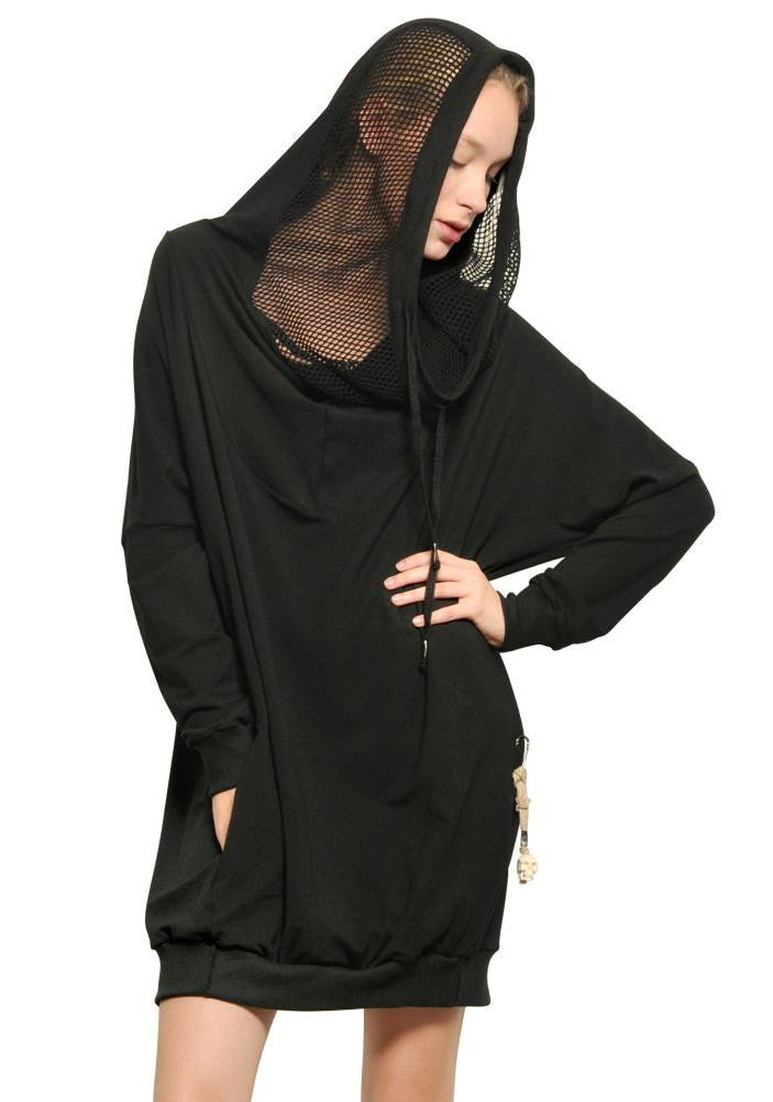 Women Hooded Mesh Long Sweatshirt / Adjustable Drawstring Hood / Oversized Hood