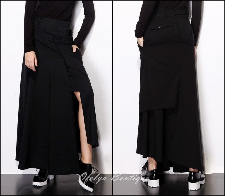 Asymmetric Cut Stretch Cotton Large Package Hip Skirt High-End Japanese Elegant Fashion Maxi Long Skirt //