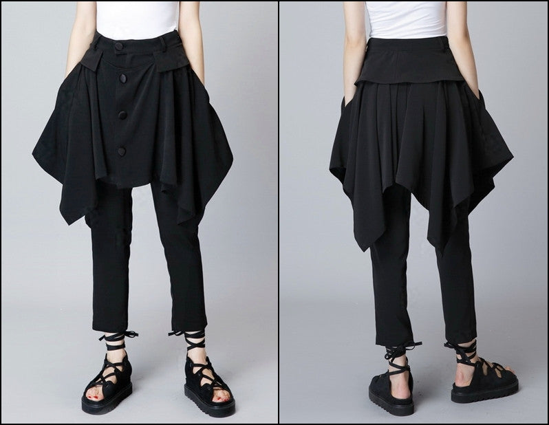 Original Design High Waist Skinny Leg Skirt Layer Crepe Pants // Asymmetrical Skirt Layer Trouser